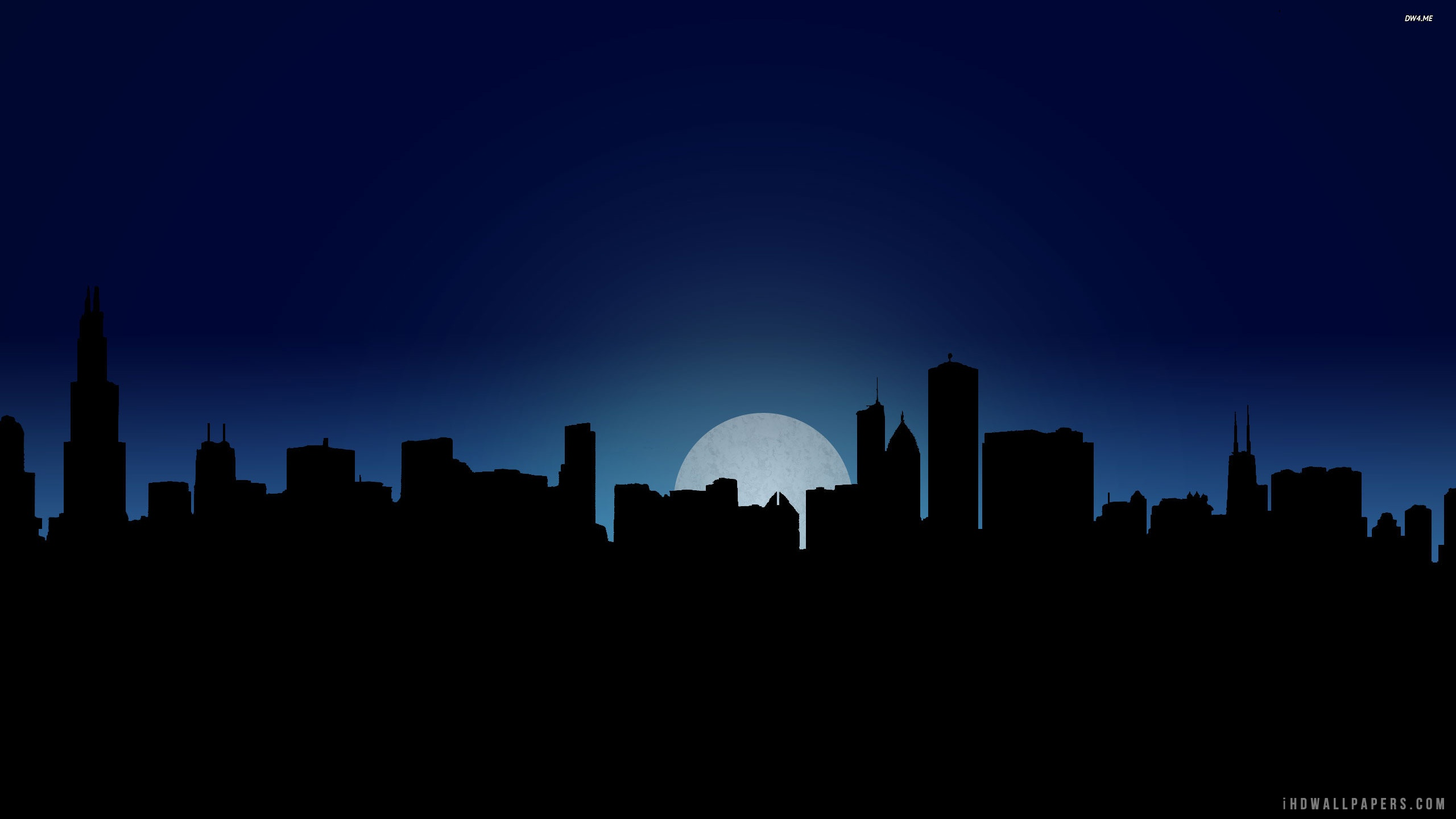 Chicago Skyline At Night Time Wallpaper 2560x1440