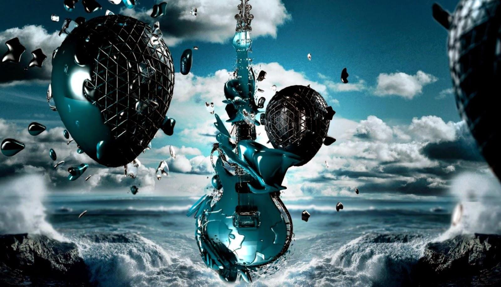 3D Abstract Clouds Guitars Digital Art Wallpaper PicsHDWall 1600x918