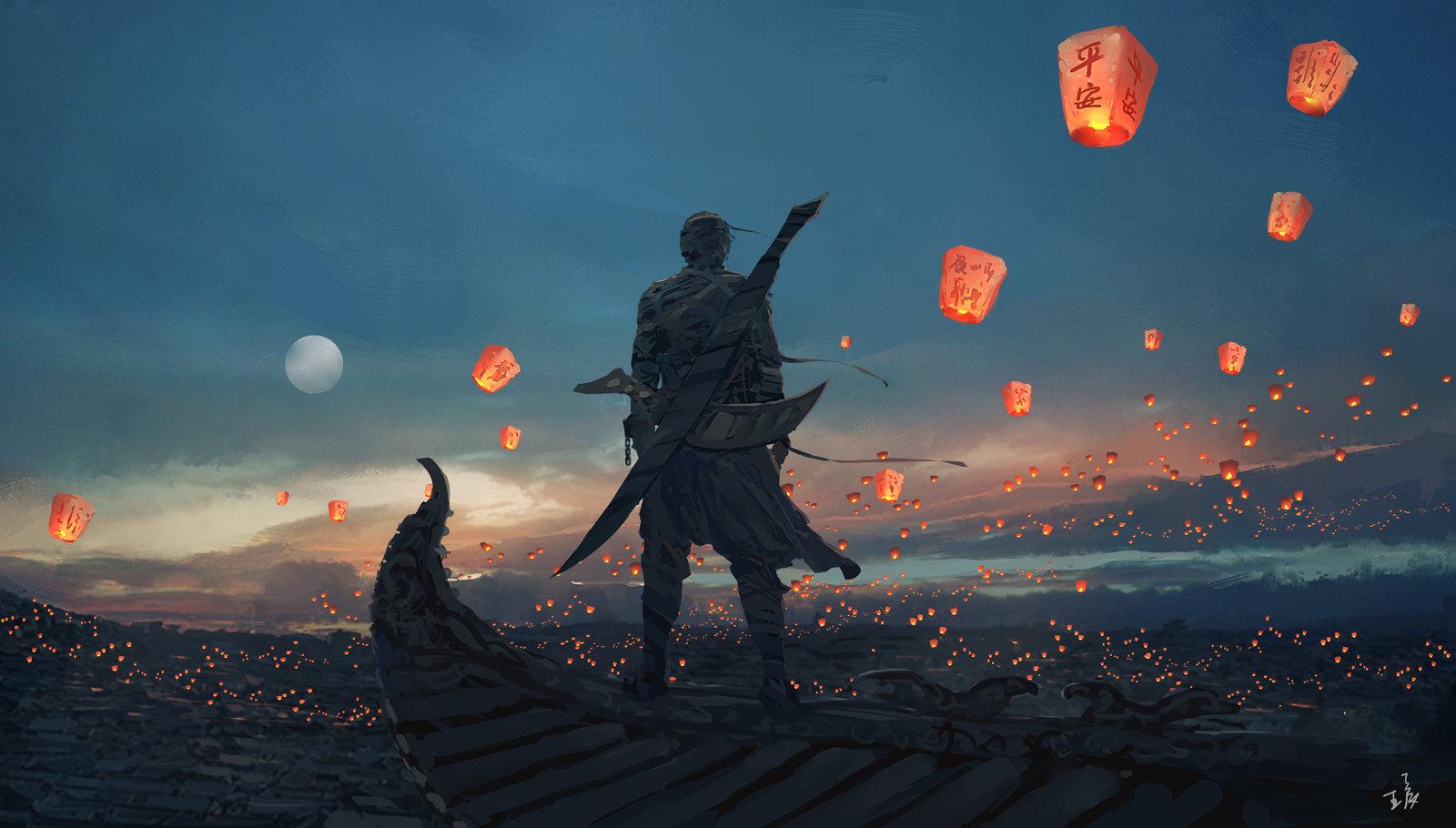 Sky Lanterns by wlop 1600x910
