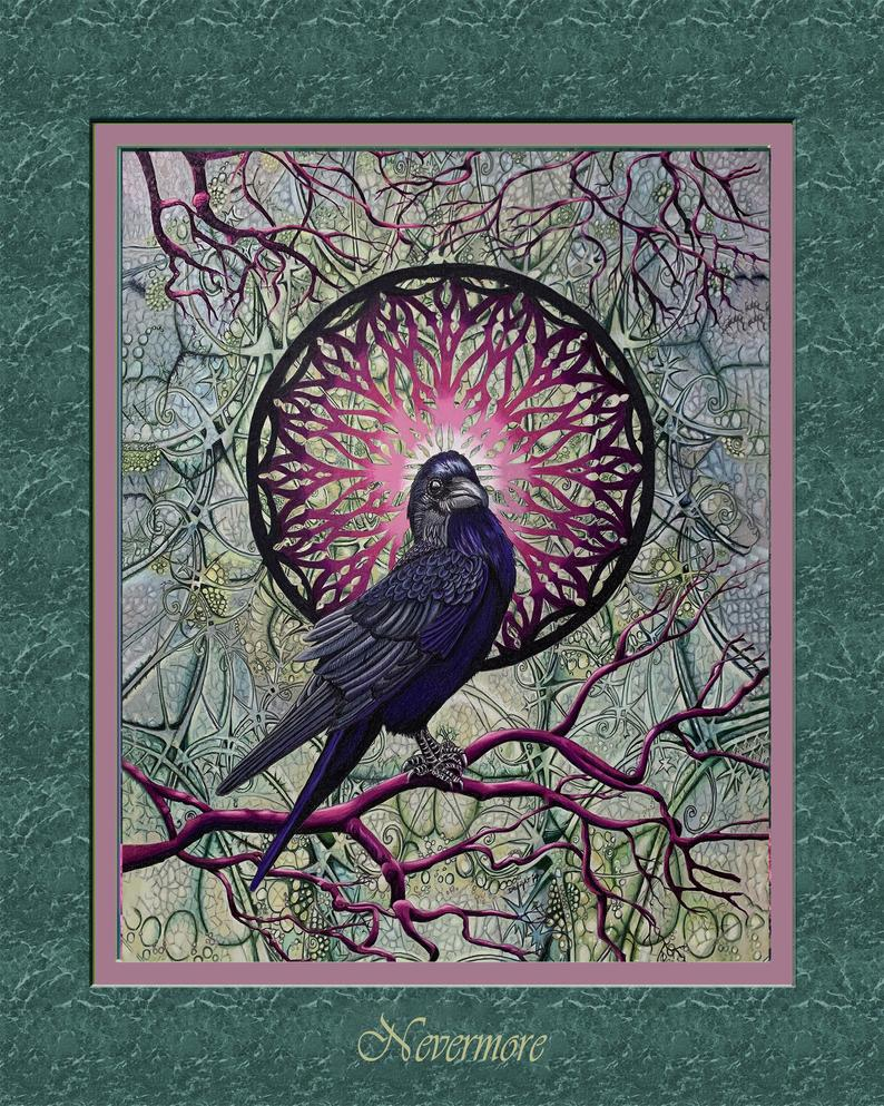 Nevermore Raven raven n mandala complex background raven n Etsy 794x993