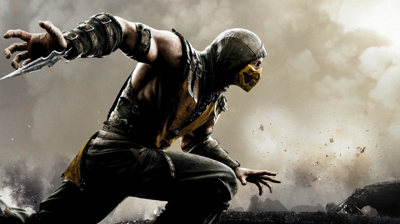HD Background Mortal Kombat X Scorpion Wallpaper WallpapersByte 1366x768