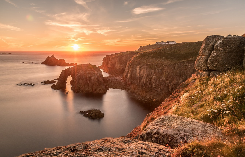 Wallpaper sunset coast England Cornwall Enys Dodnan Arch 1332x850
