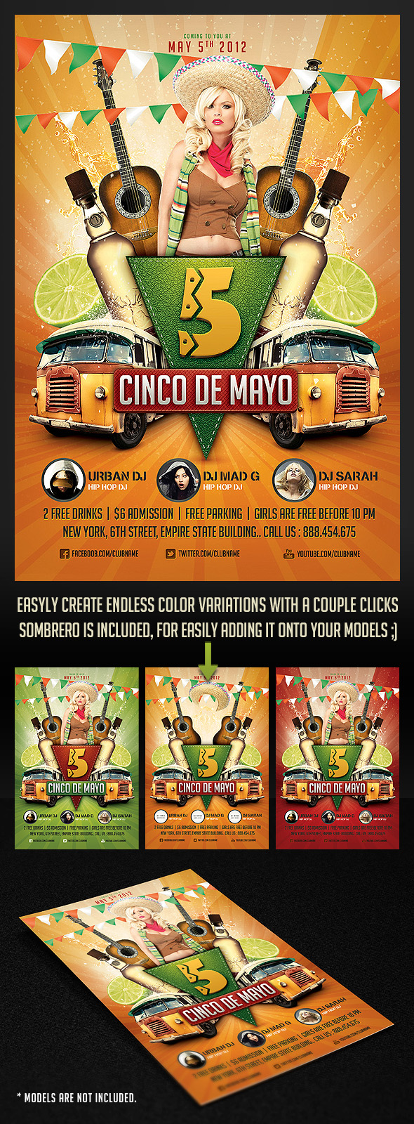 Cinco de Mayo Party Flyer 2 by saltshaker911 590x1600
