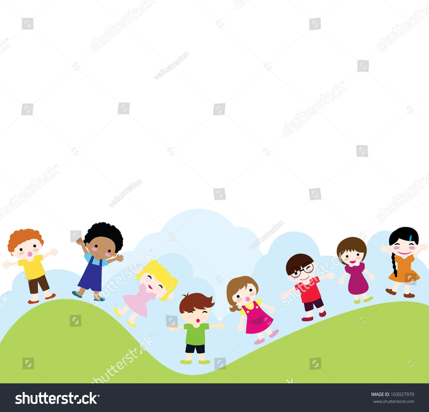 Happy Children Background Of Girls And Boys Standing And 1500x1438