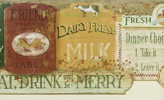 Country Kitchen Signs Wallpaper Border   Wallpaper Border 525x320