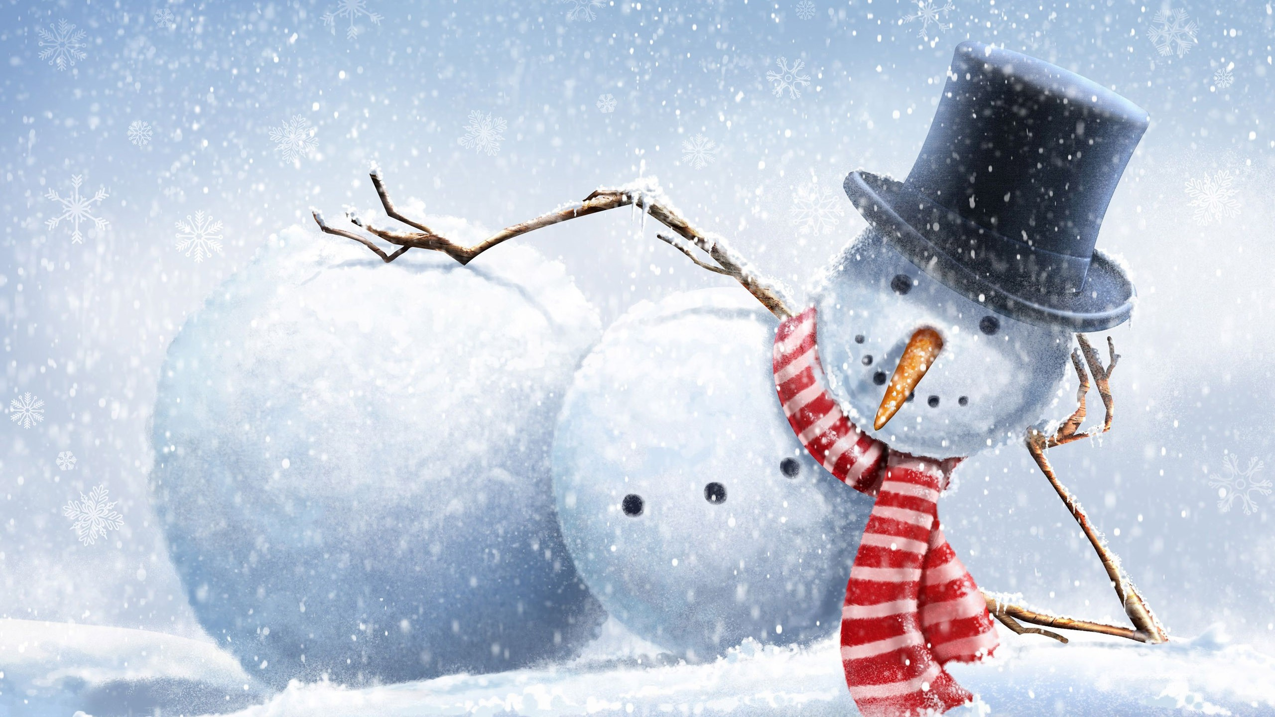 drawing snow winter snowman top hats branch carrots 2560x1440