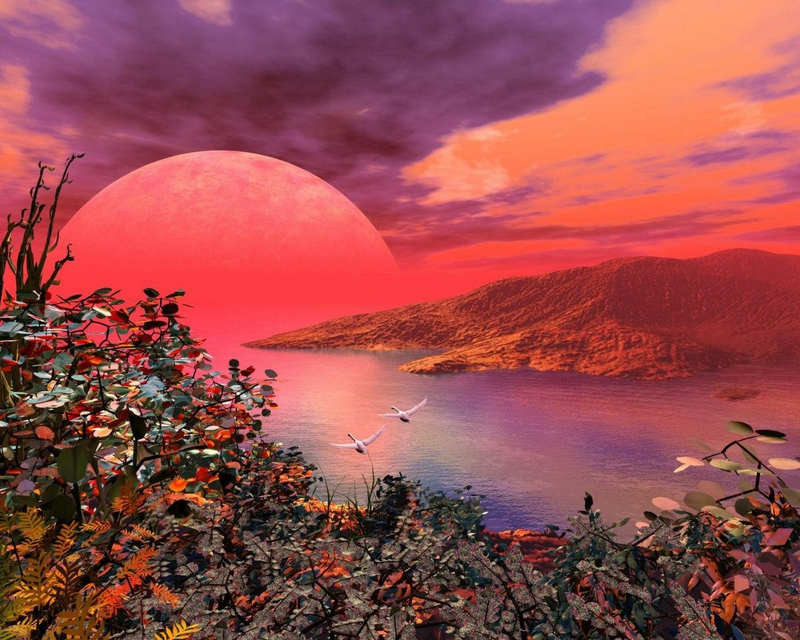 Red Moon Wallpaper: Red Nature Wallpaper