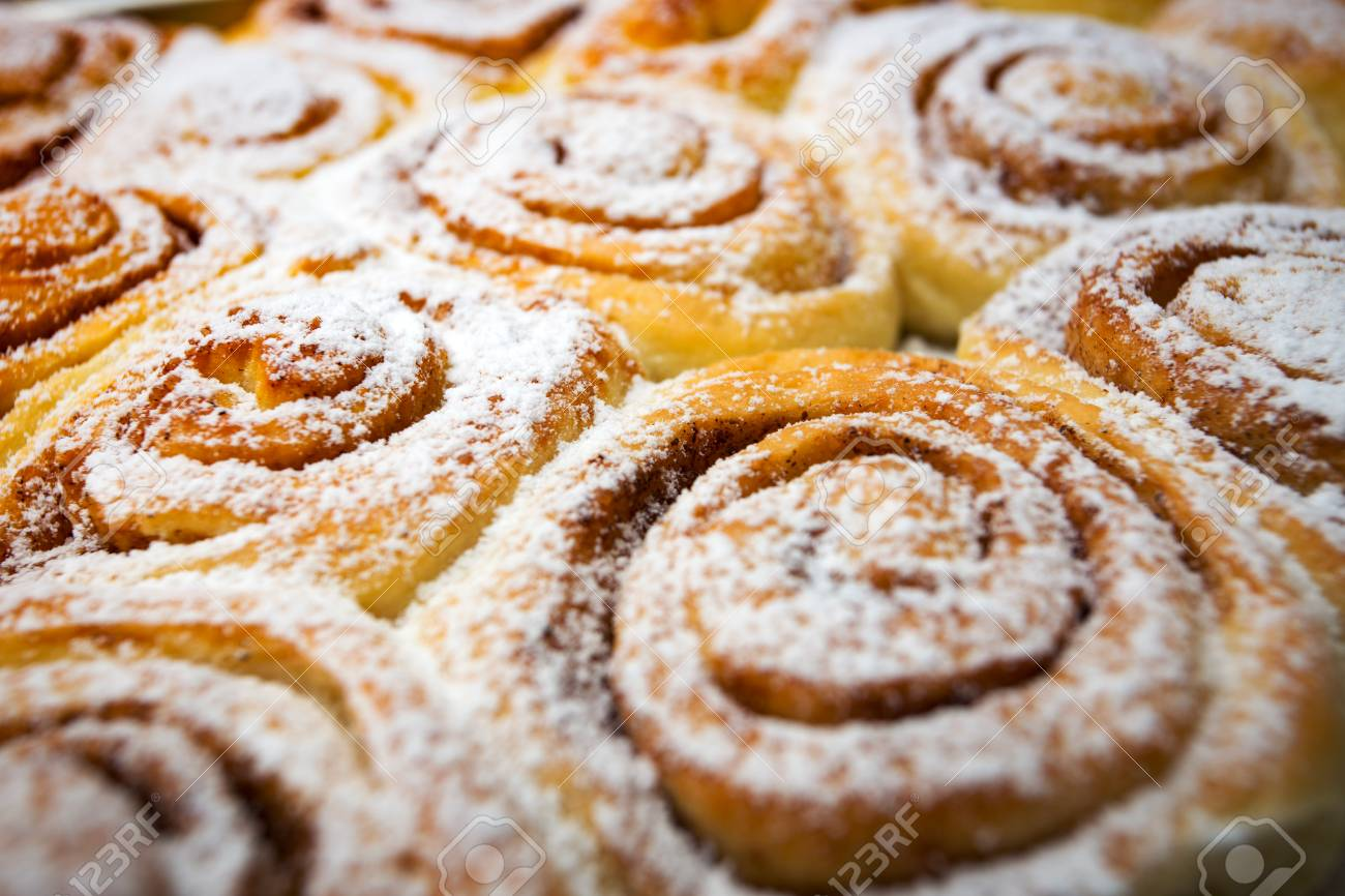 Background Of Delicious Fresh Buns Cinnabon Stock Photo Picture 1300x866