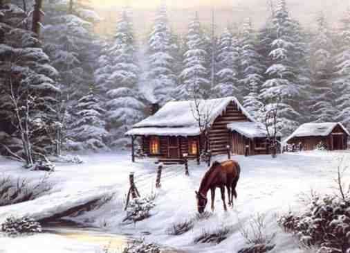 PerfectCabin in the snow fire in the fireplace and a horse   wish 506x365
