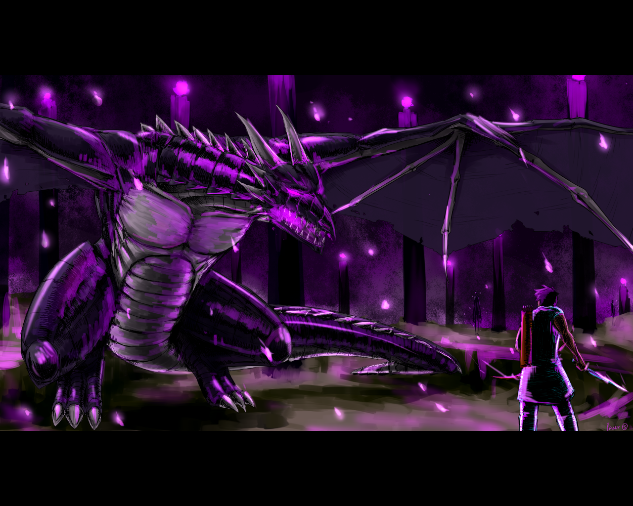 Free Download This Is Drawing About The Battle Of Enderdragon And