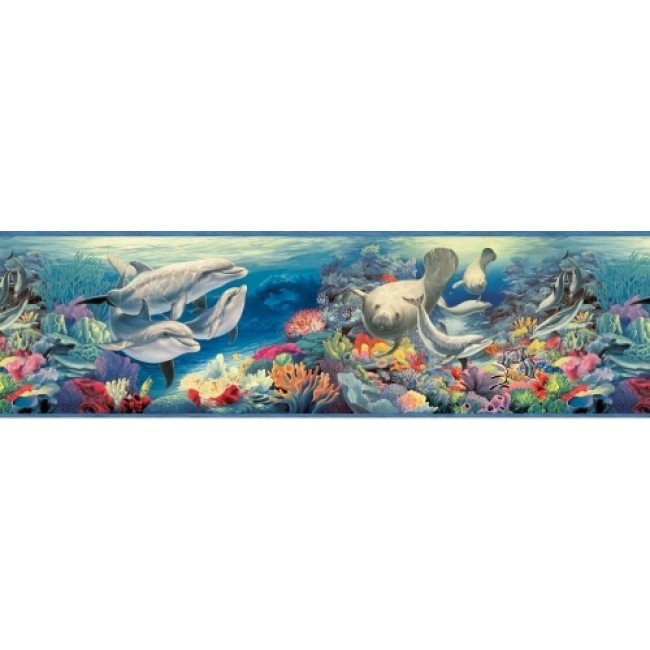 Manatee Ocean Encounter Wallpaper Border   All 4 Walls Wallpaper 650x650