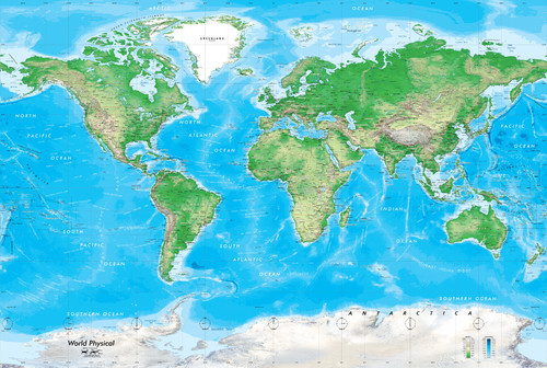 World Physical Map Decal Peel and Stick 1 Panel 89x60 More 500x336