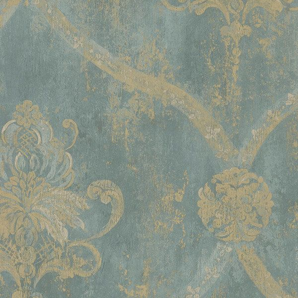 Wallpaper Gold Regal Damask on Aqua Textured Background by The Wallpaper and Border Store