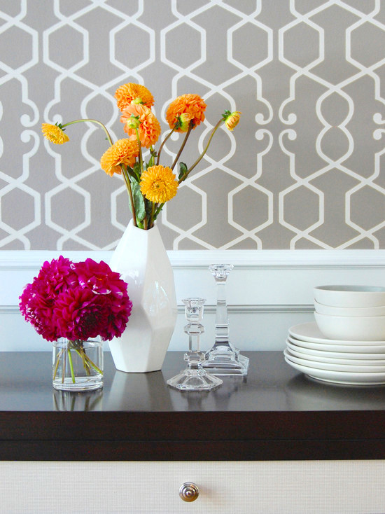 Room Ideas Trellis Wallpaper Geometric Pattern Interior Design 550x734