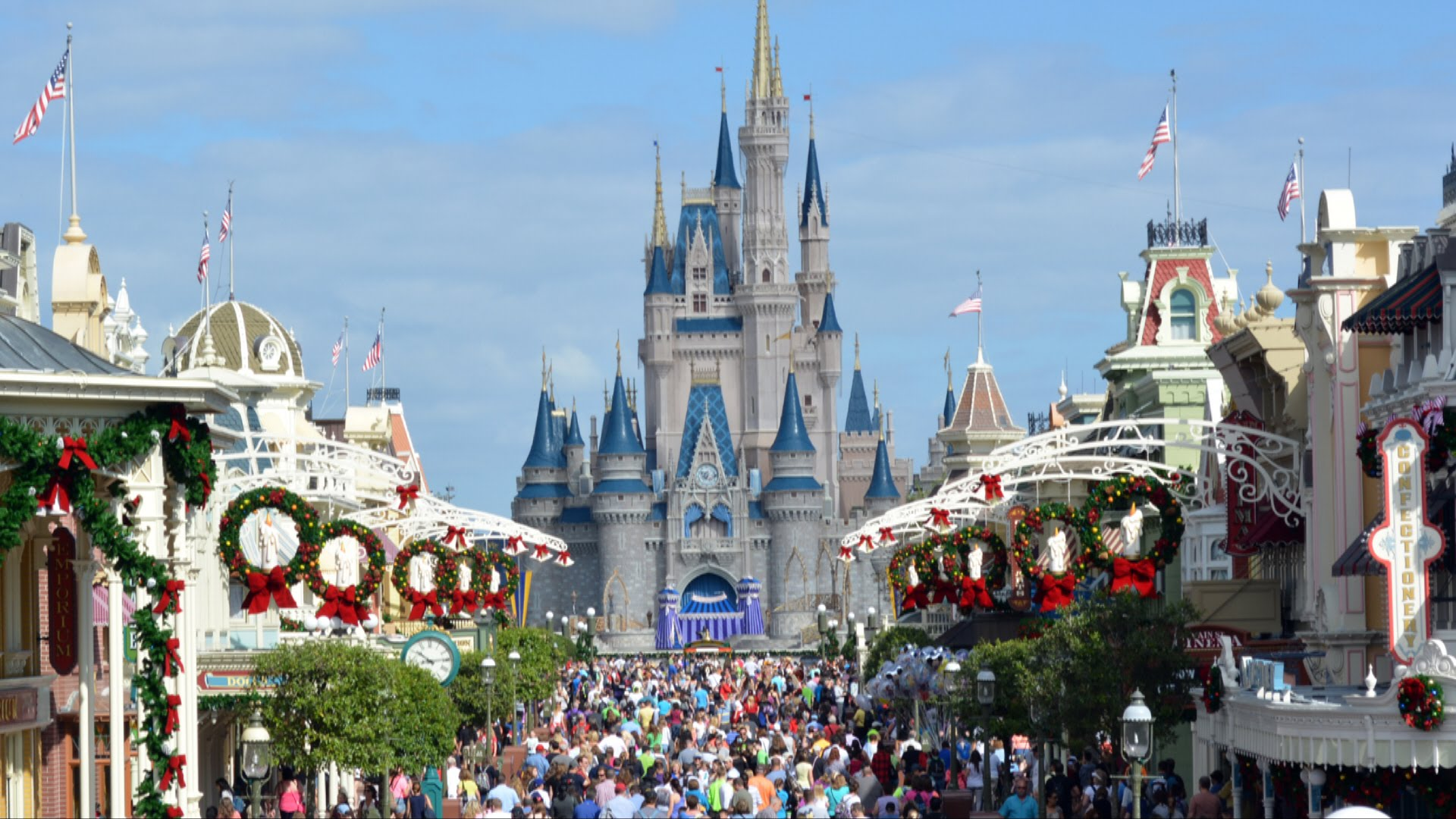 Christmas Holiday Decorations at The Magic Kingdom 2014 Including New 1920x1080