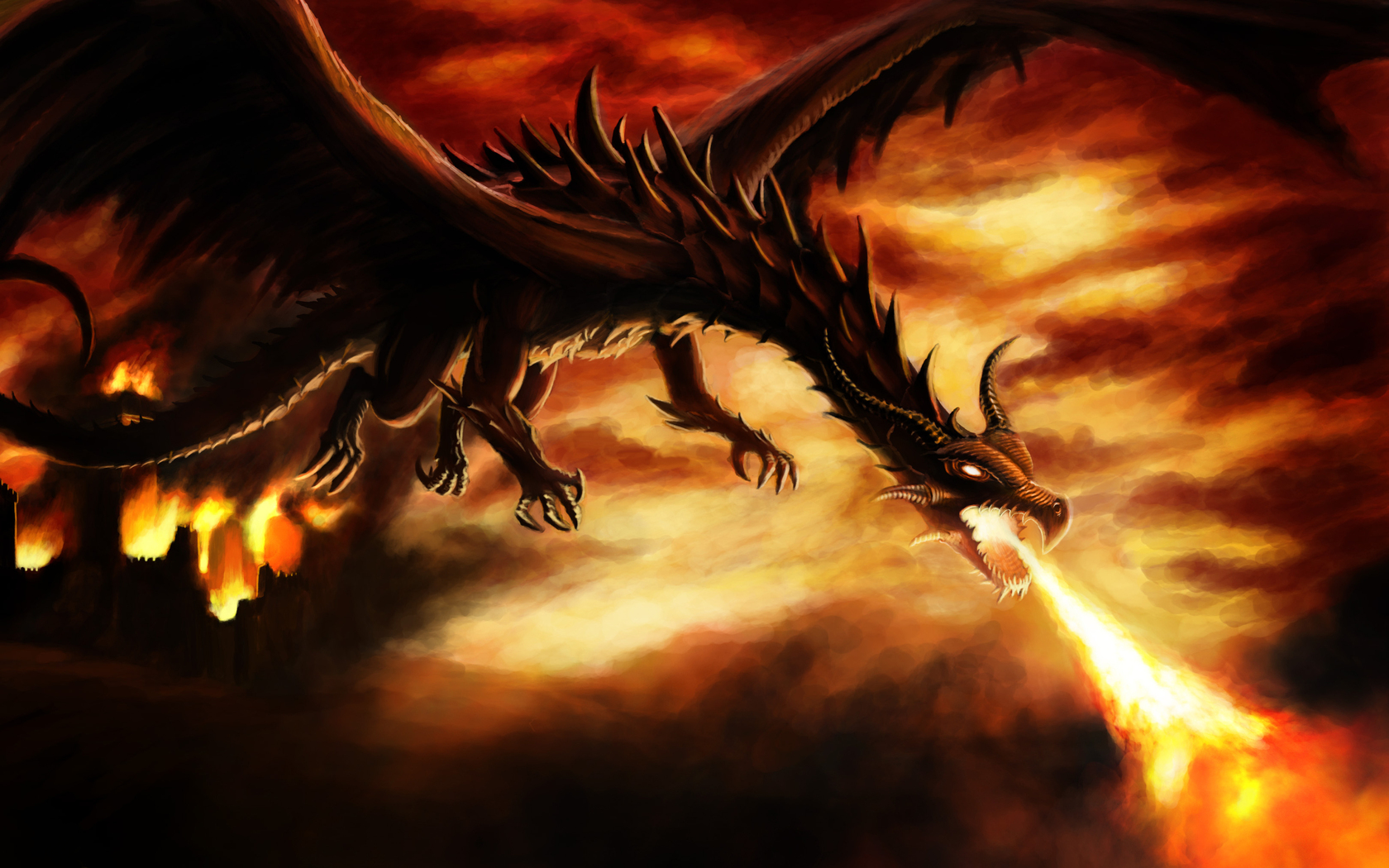 Dragon Attack 3d art black dragon fire 1680x1050