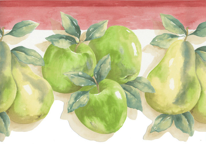 Green Red Apples Apple Pear Fruit Kitchen Country Laser Cut Wall paper 720x505