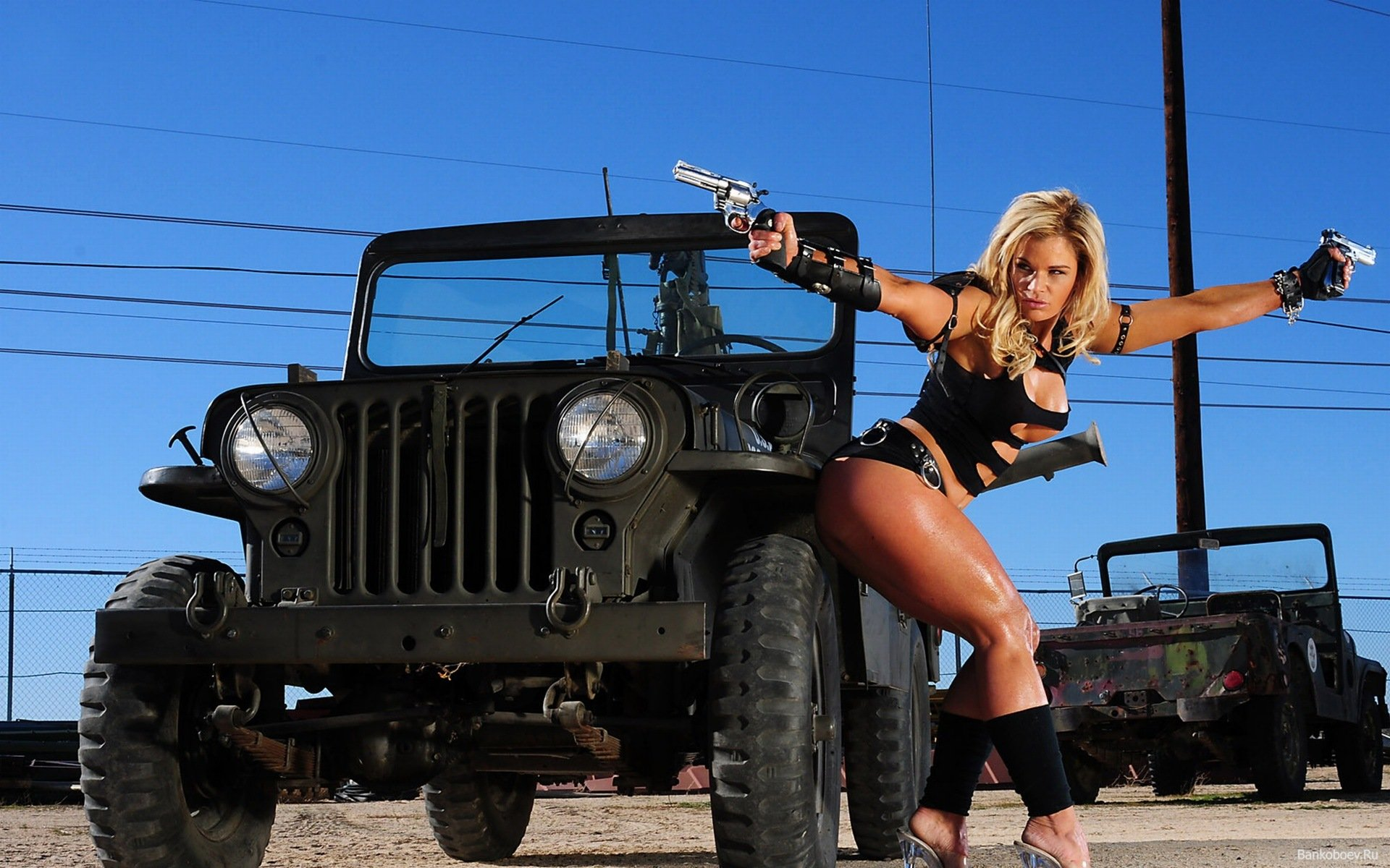 jeep desktop wallpaper pictures Military girl and a jeep photos 1920x1200