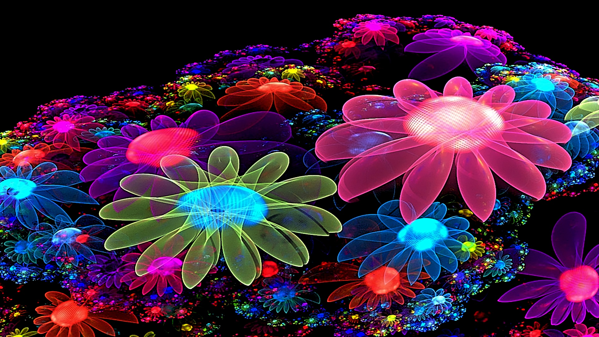Neon Flower Digital Art 1920x1080 1920x1080