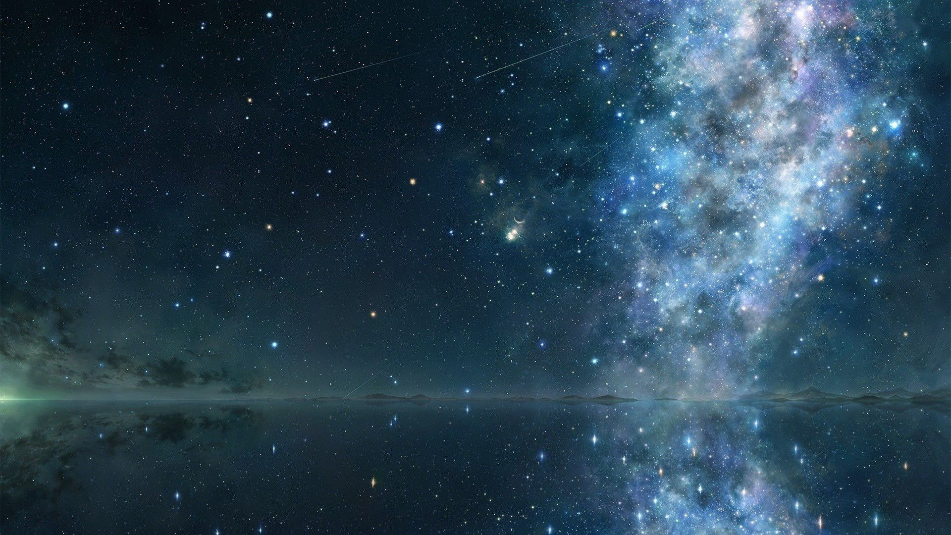 An otherworldly Milky Way stretches across the sky Wallpaper 1920x1080