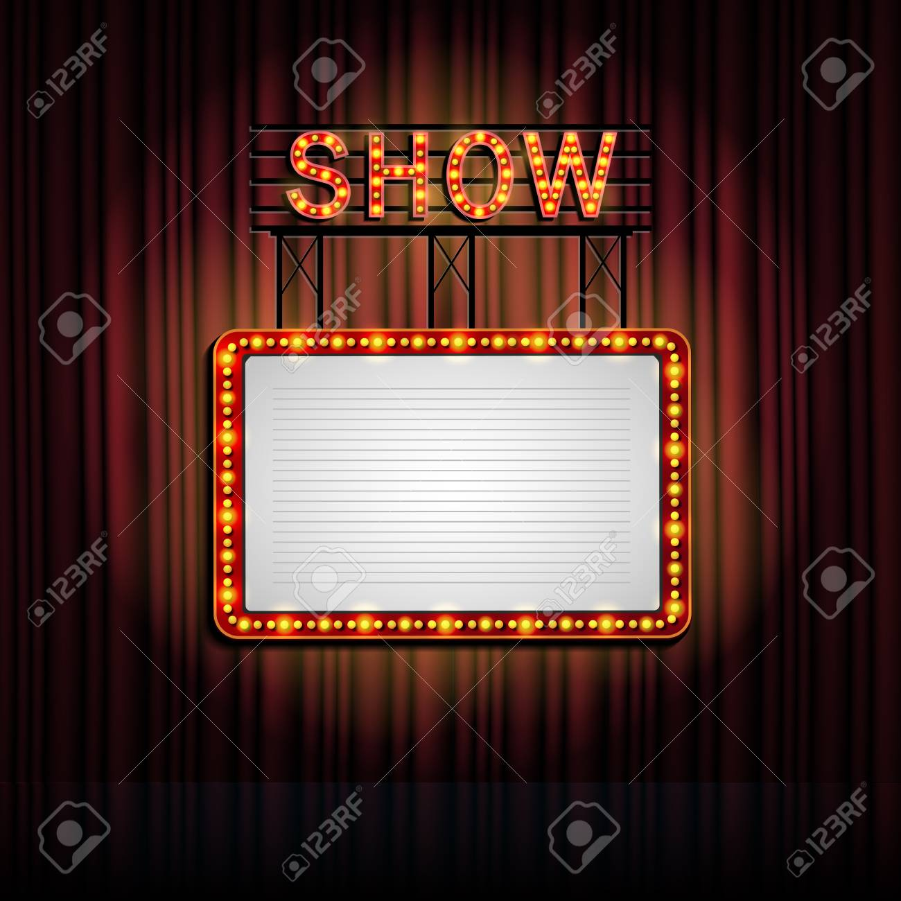 Showtime Retro Sign With Curtain Background Stock Photo Picture 1300x1300
