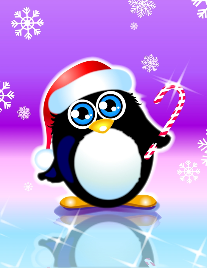 Новогодняя открытка пингвином, меркель улыбается открытка