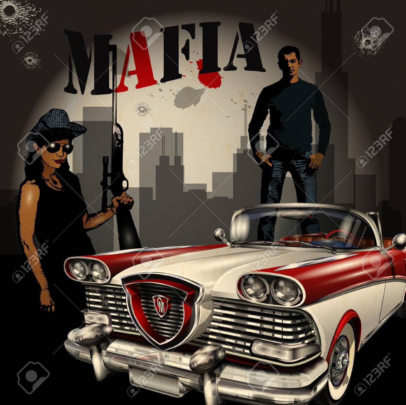 Mobster Couple With Retro Car On Night City Background Royalty 1300x1295