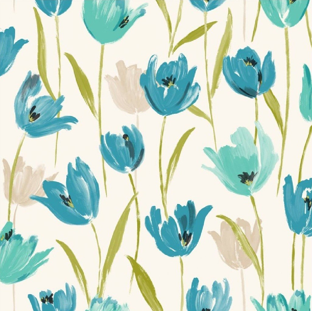 Tulip Floral Flowers Leaf Print 10m Wallpaper Roll Decor Art Modern 1025x1023