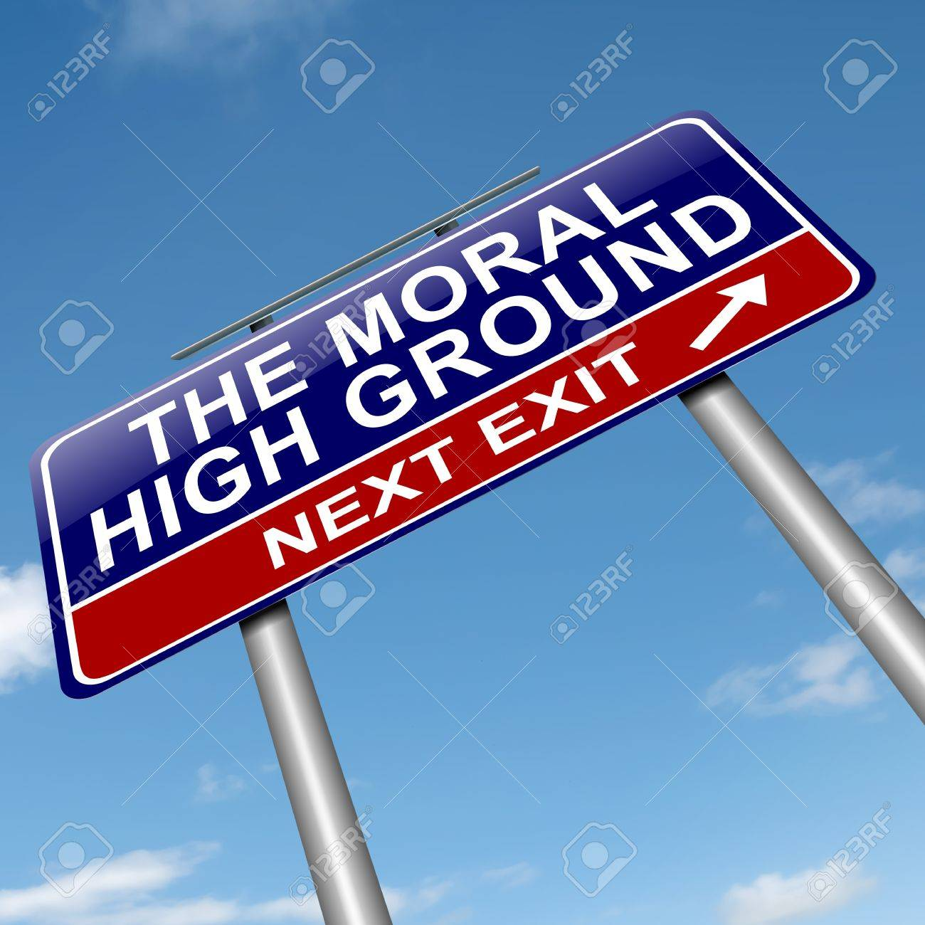 Illustration Depicting A Roadsign With A Moral High Ground Concept 1300x1300