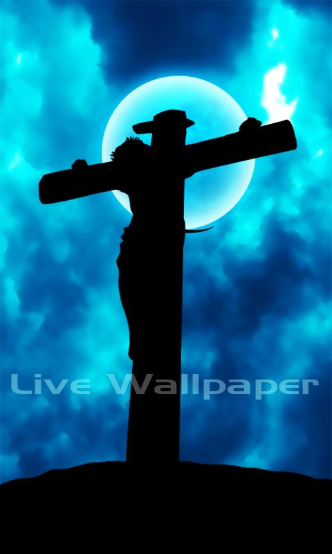 description live wallpaper jesus on cross live wallpaper moving blue 480x800