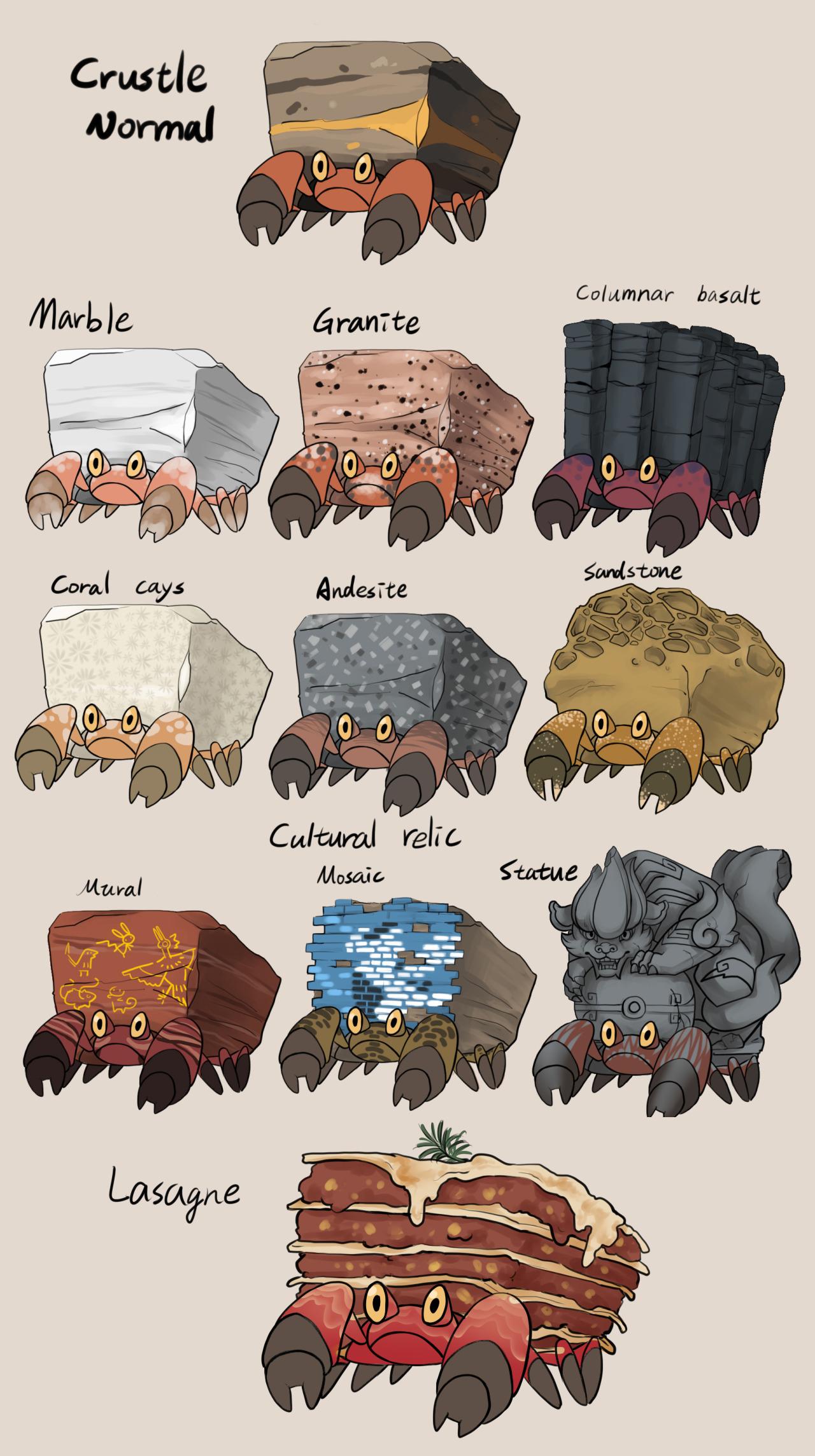 Crustle variations by Iekun on tumblr Pokmon Pokemon Pokemon 1280x2286