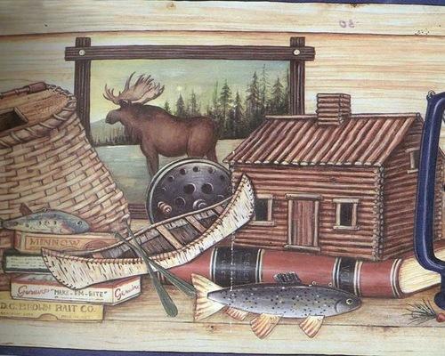 Blue Cream Wooden Hunting Gear Wallpaper Border Roll   Wallpaper 500x400