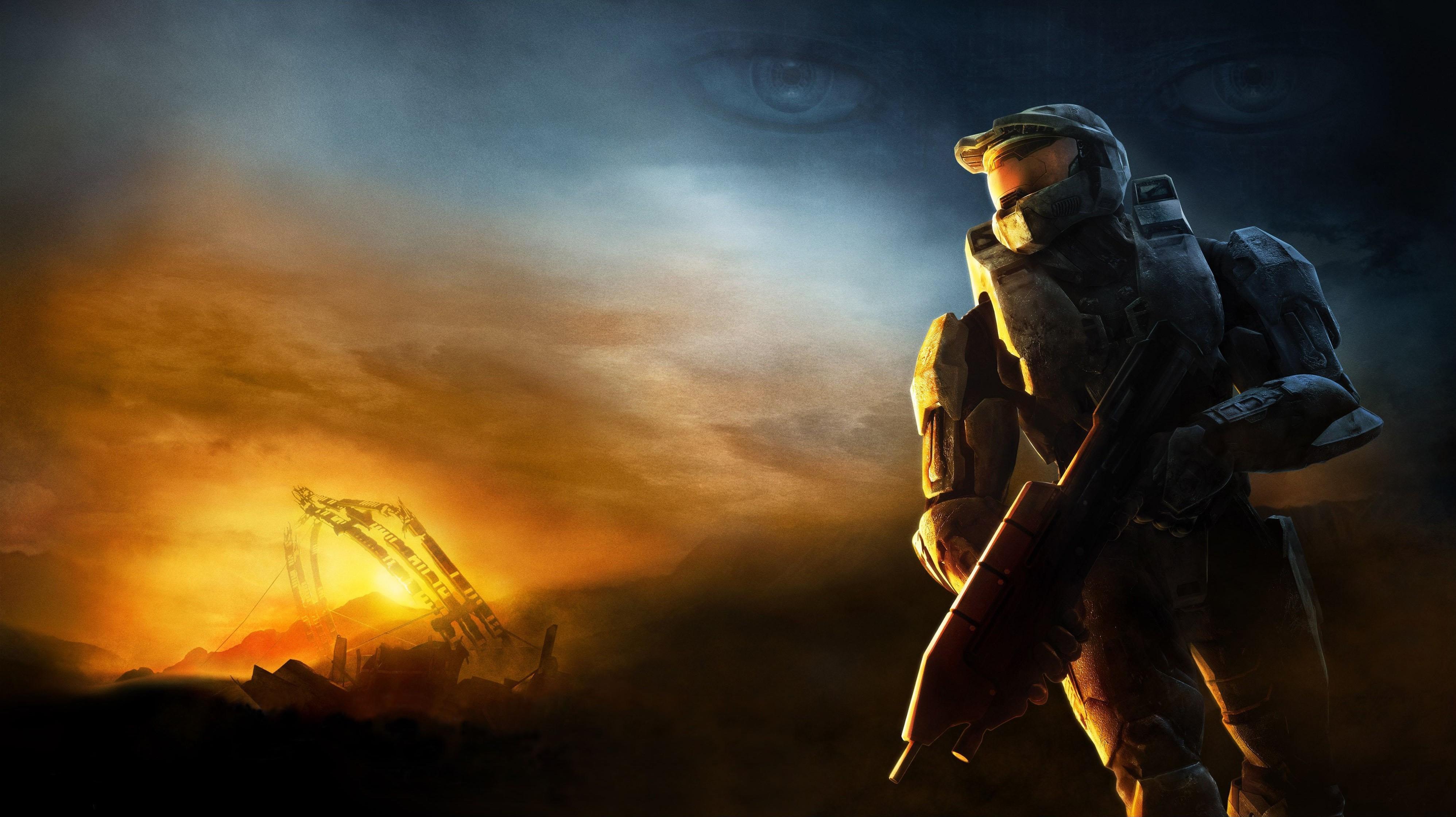 Master Chief Halo 3 Video Games Cortana Wallpapers HD Desktop 3992x2240