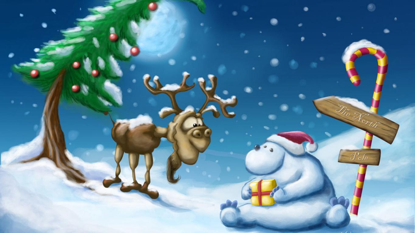 MOOSE AND BEAR CHRISTMAS WALLPAPER   2778   HD Wallpapers 1366x768