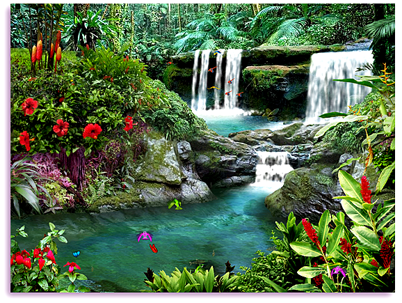 Living Waterfalls 3 3D Screensaver Animated Waterfall Screen 578x435