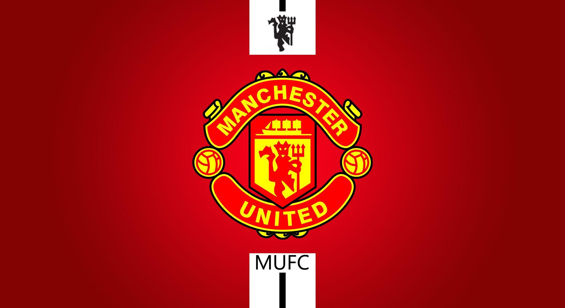 Manchester United Logo Red Background Wallpaper HD Desktop 1980x1080