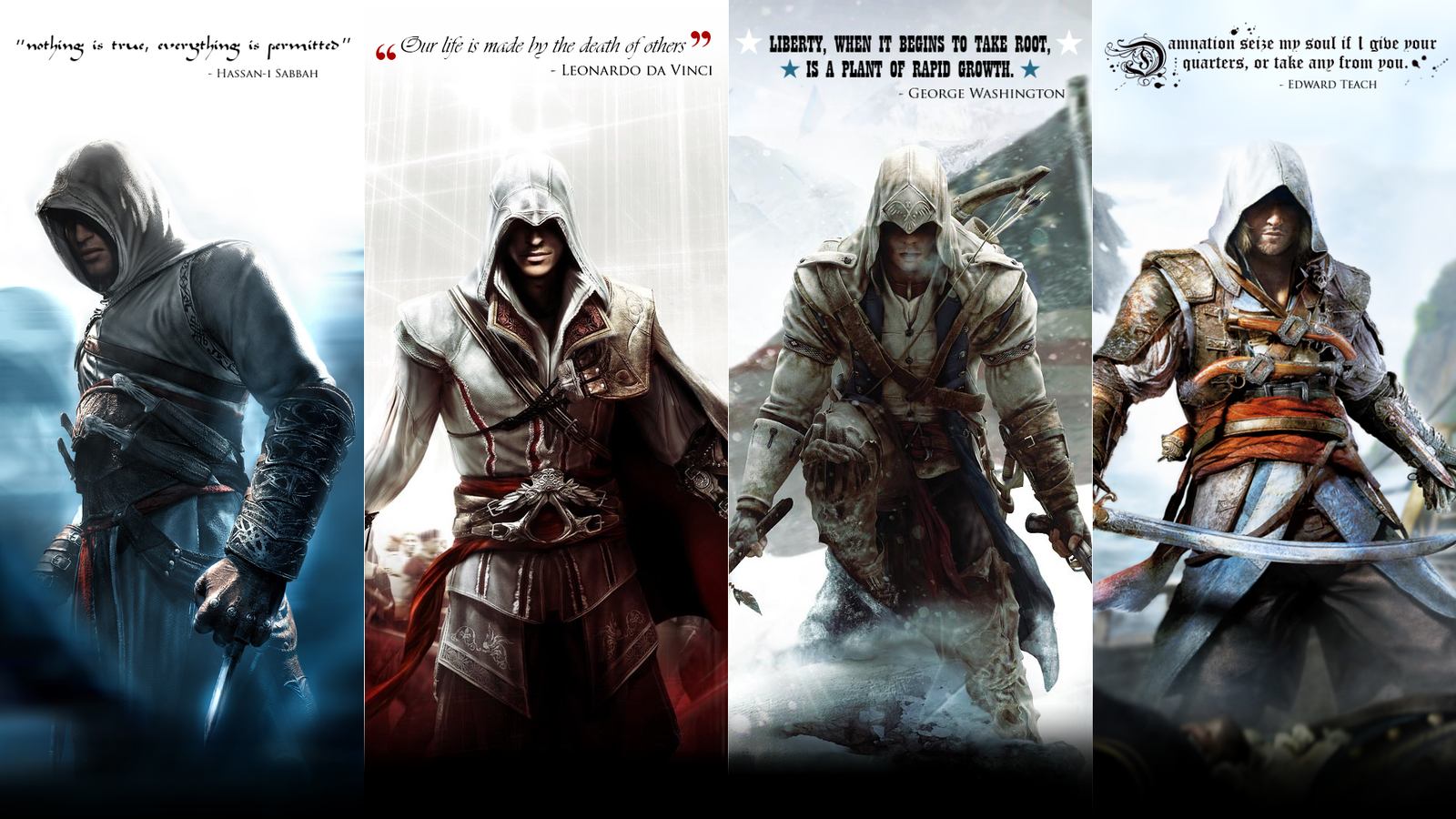 Assassins Creed Altair Ezio Connor and Edward by okiir on 1600x900