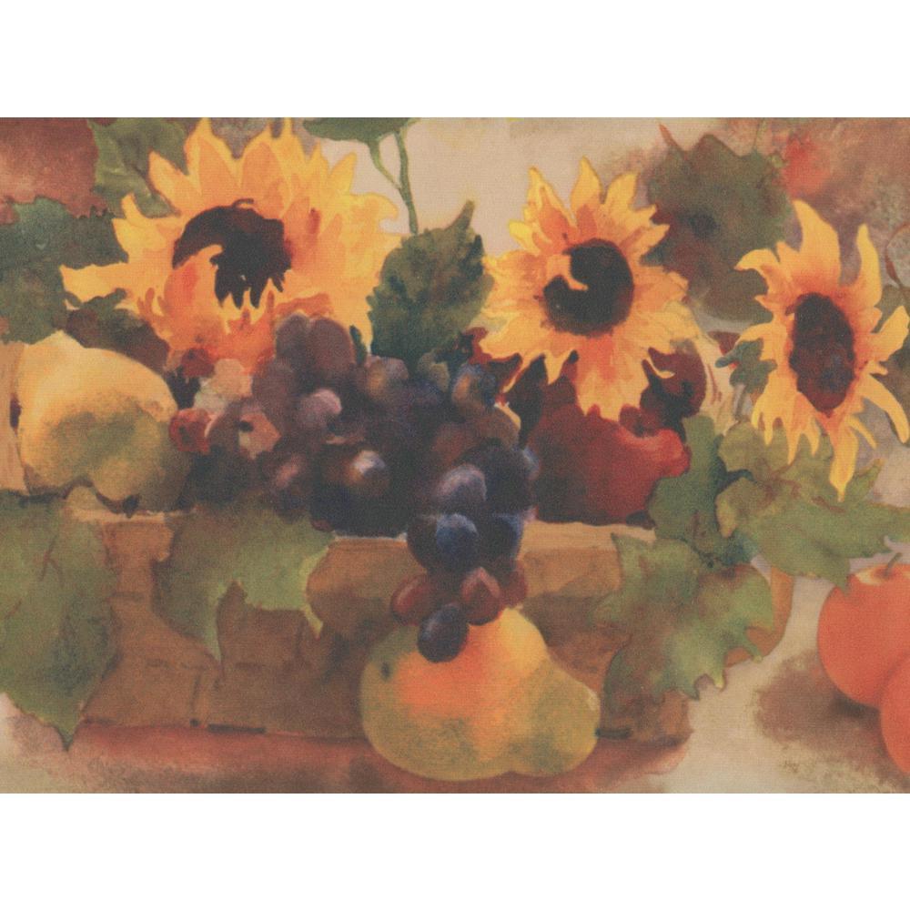 York Wallcoverings Sunflower Grapes Apple Pear Plum in Basket 1000x1000