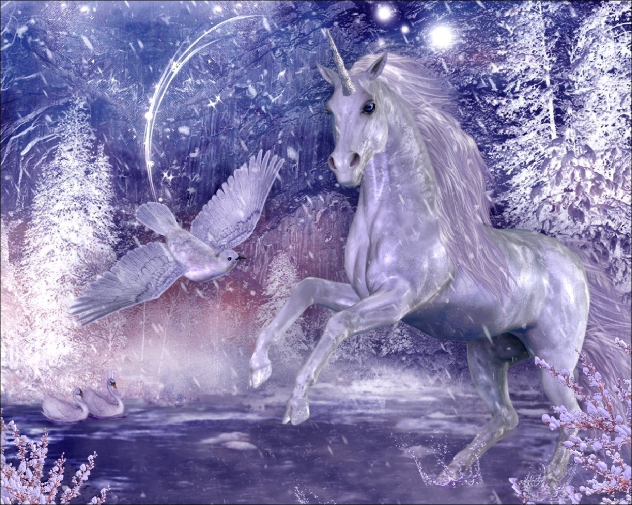 Wallpaper unicorn wood stars night bird 1280x1024