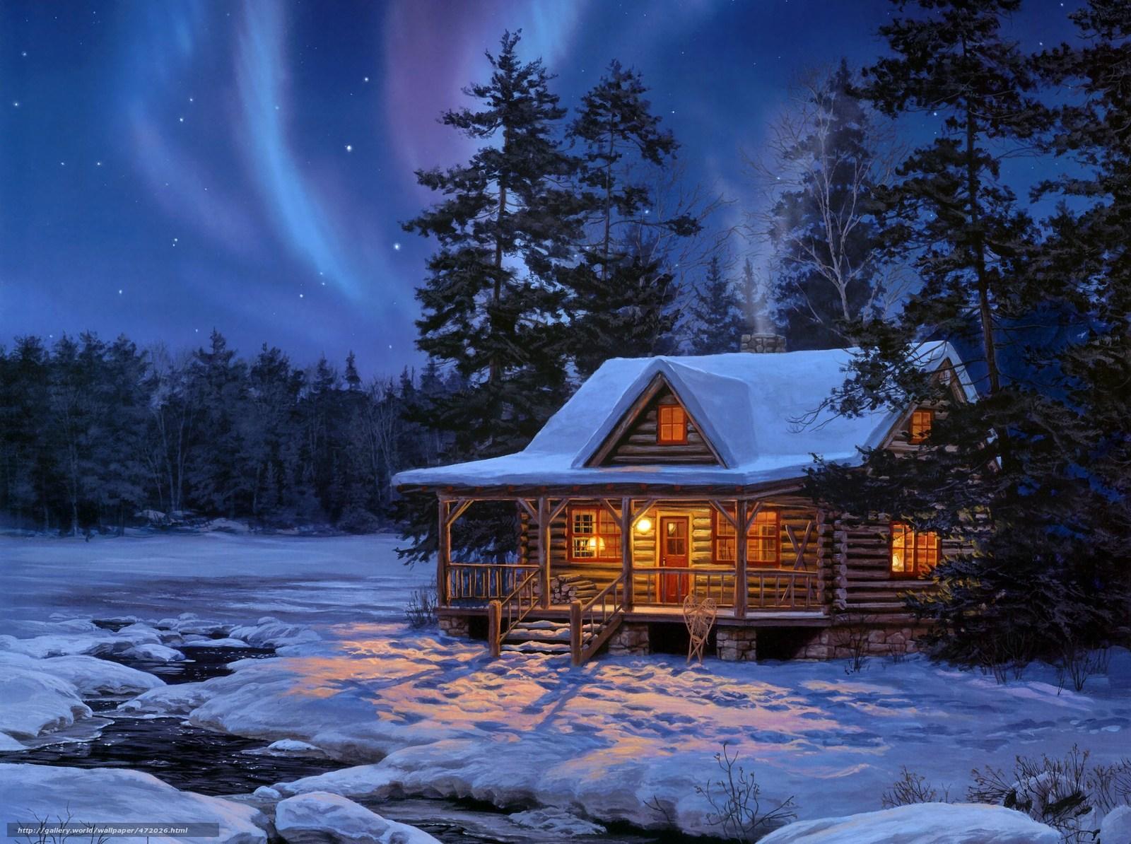 Download wallpaper painting wood log home desktop wallpaper in 1600x1194