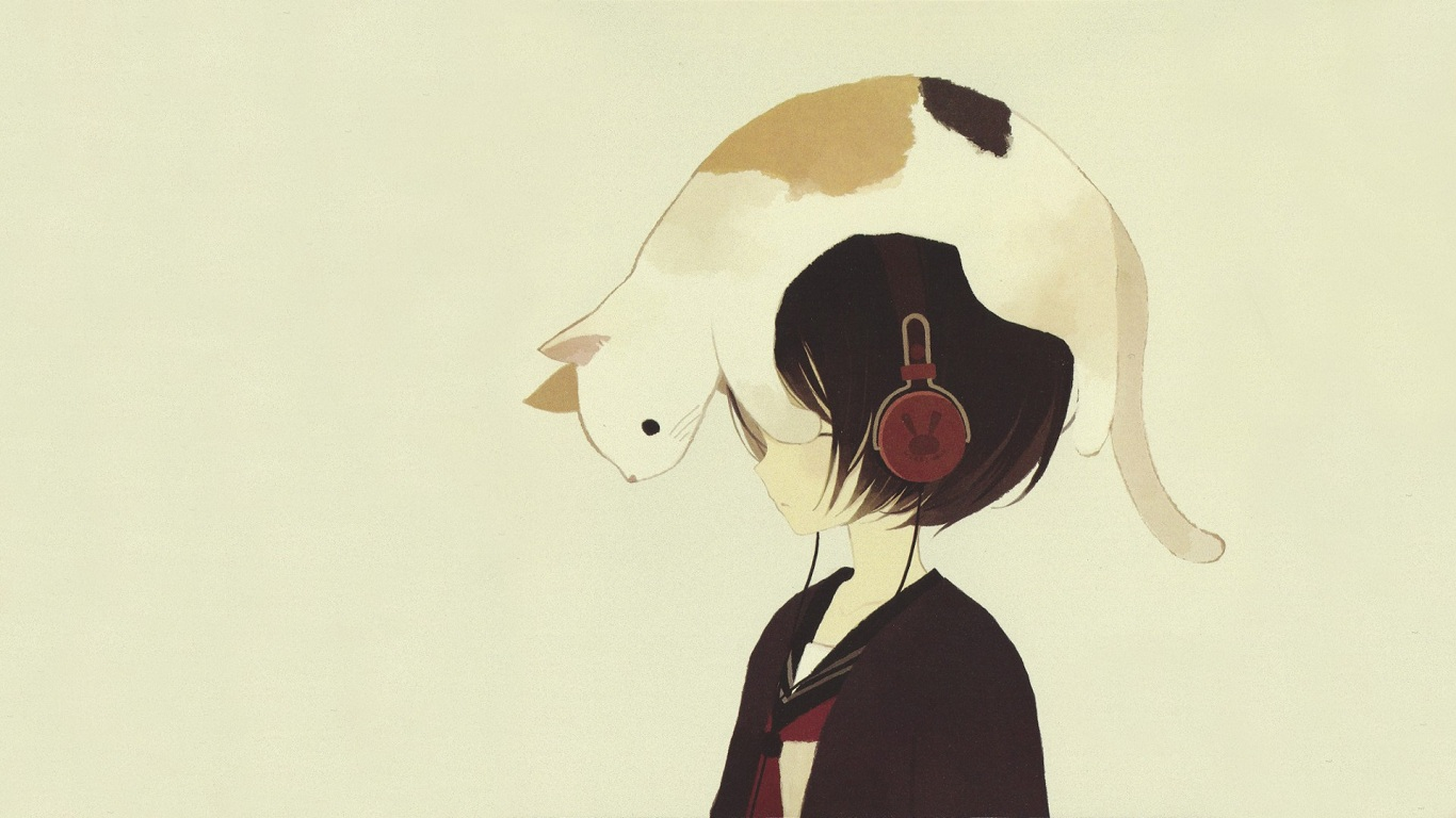 Wallpaper 1366x768 Headphones Headphones Girl Anime Drawn Cats 1366x768