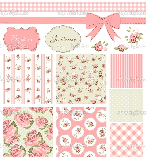 Vintage Rose Pattern frames and cute seamless backgroundsjpg 500x545
