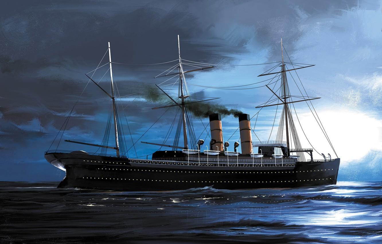 Wallpaper wave ship Transatlantic Ships etruria images for 1332x850