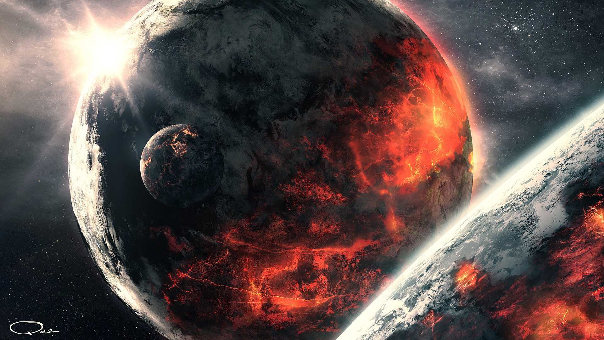 Full HD Volcanic Planet in Space1080p wallpaper 1920x1080