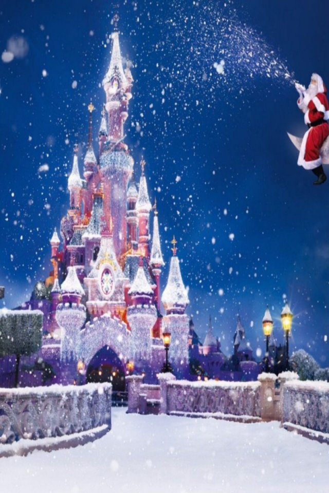 Download HD Disney Castle Christmas Wallpaper iPhone Wallpapers 640x960