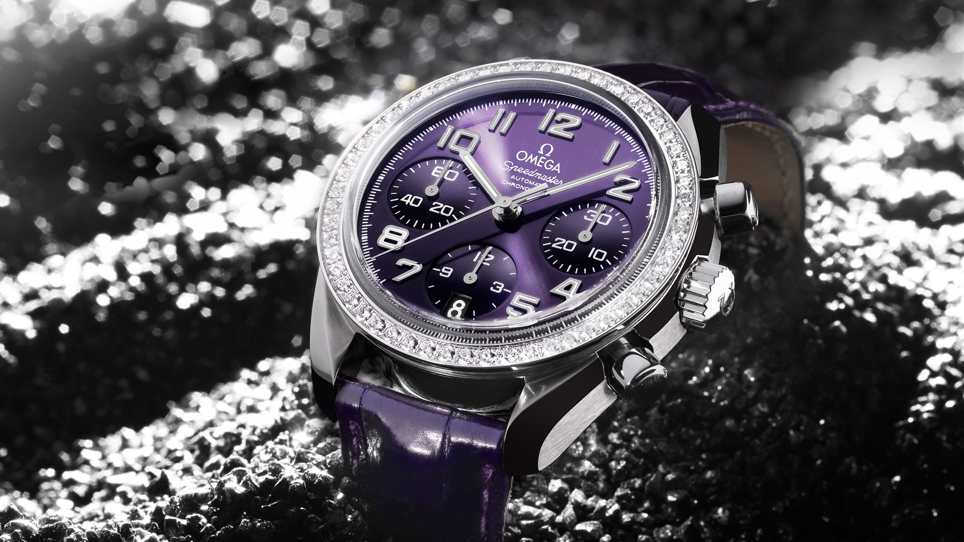 Omega watches brand close up gray omega purple watch 1920x1080