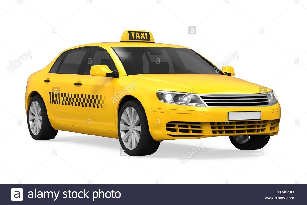 Yellow Taxi isolated on white background 3D render Stock Photo 1300x870