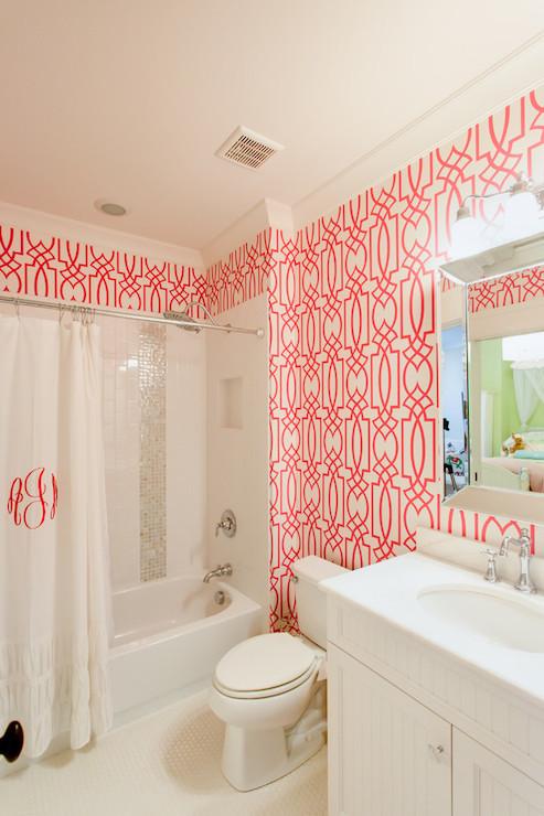 Pink Trellis Wallpaper   Contemporary   bathroom   JacksonBuilt Custom 493x740