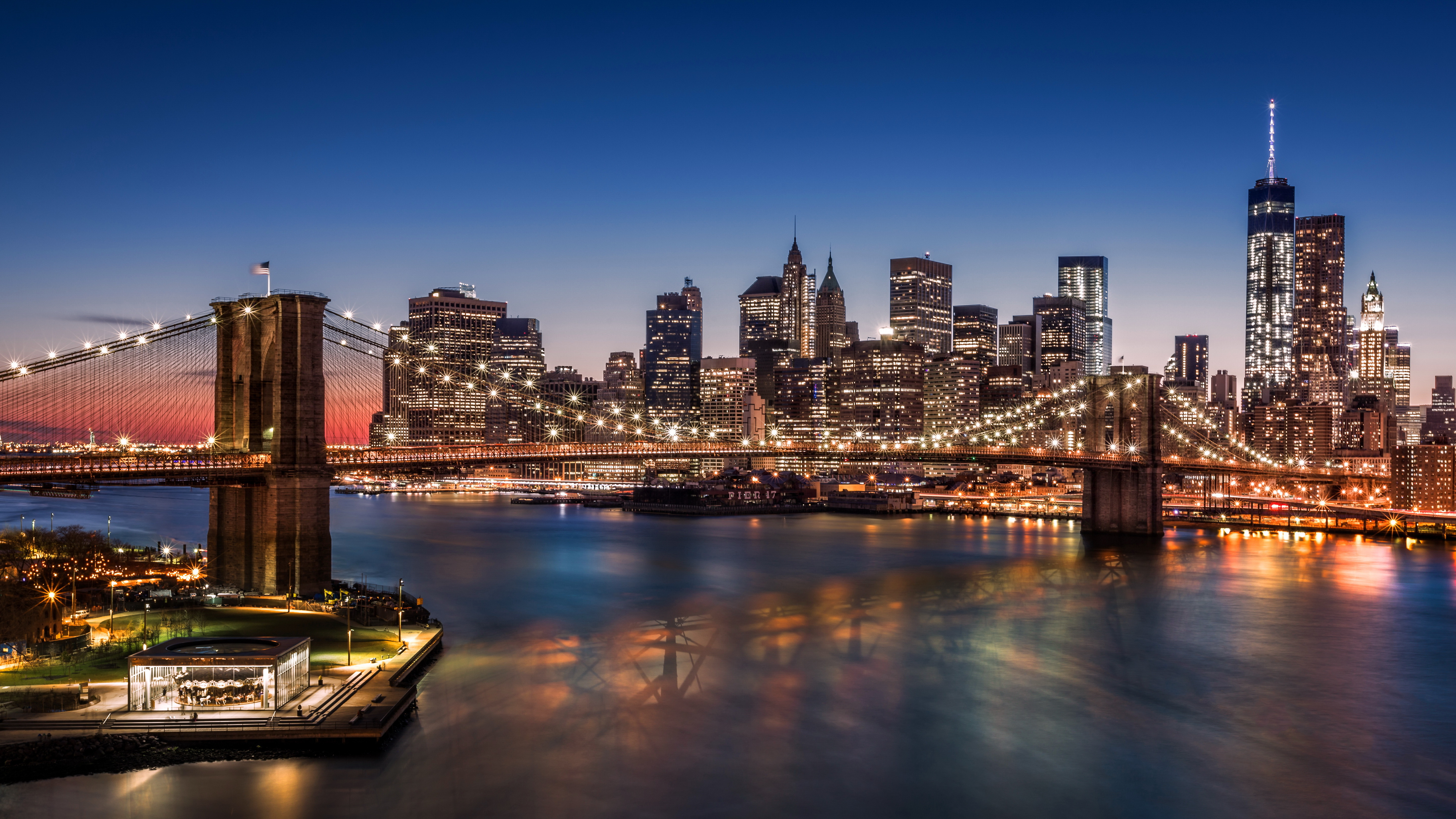 new york usa night city lights wallpapers city   download 5760x3240