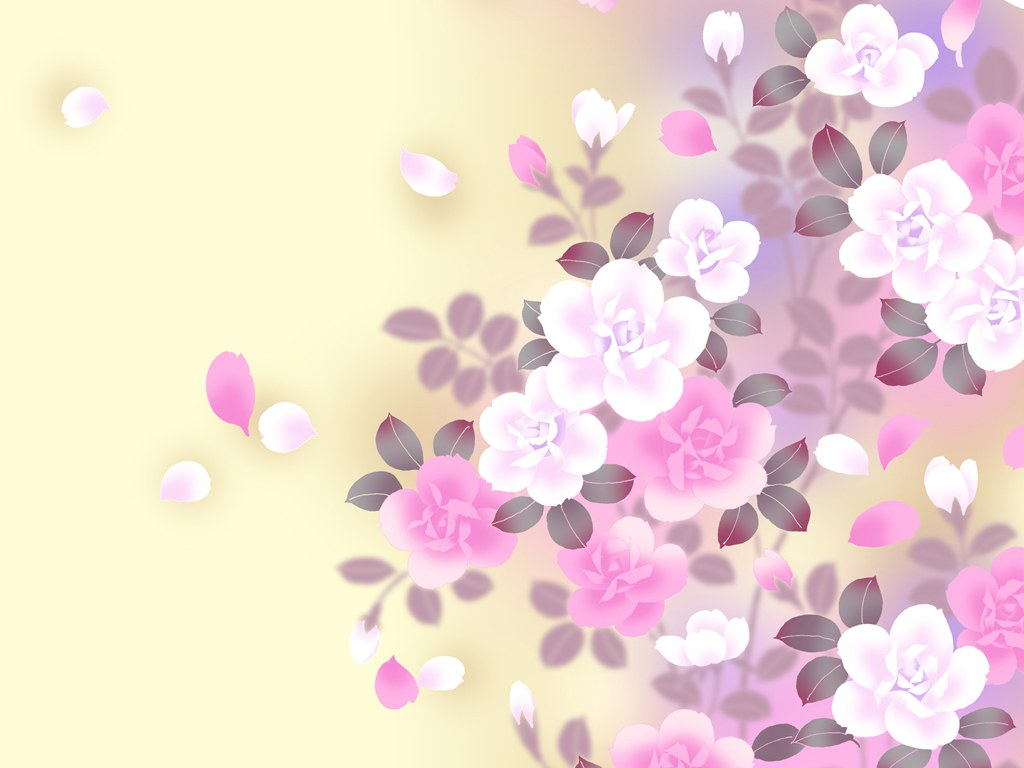 Colors in Japanese Style Sweet Flower Pattern Design 1024x768 1024x768